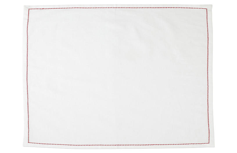S/4 Cotone Place Mats, Ivory/Red