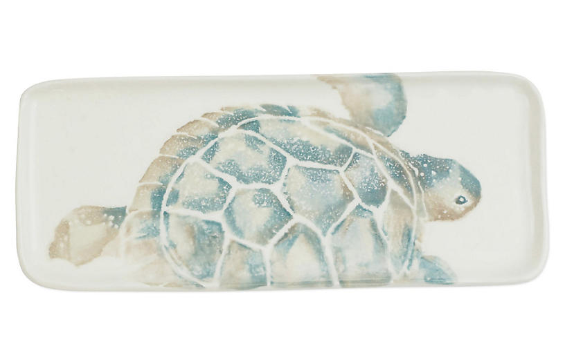 Tartaruga Tray Rectangular, Ivory/Blue