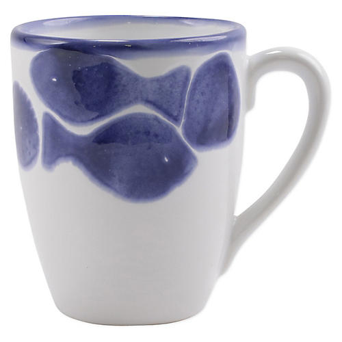 Santorini Fish Mug, White/Blue