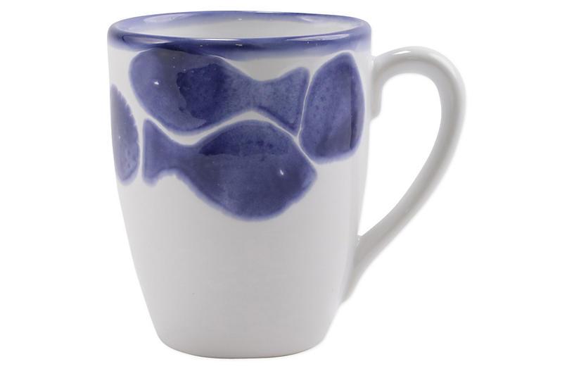 Santorini Fish Mug, White/Blue
