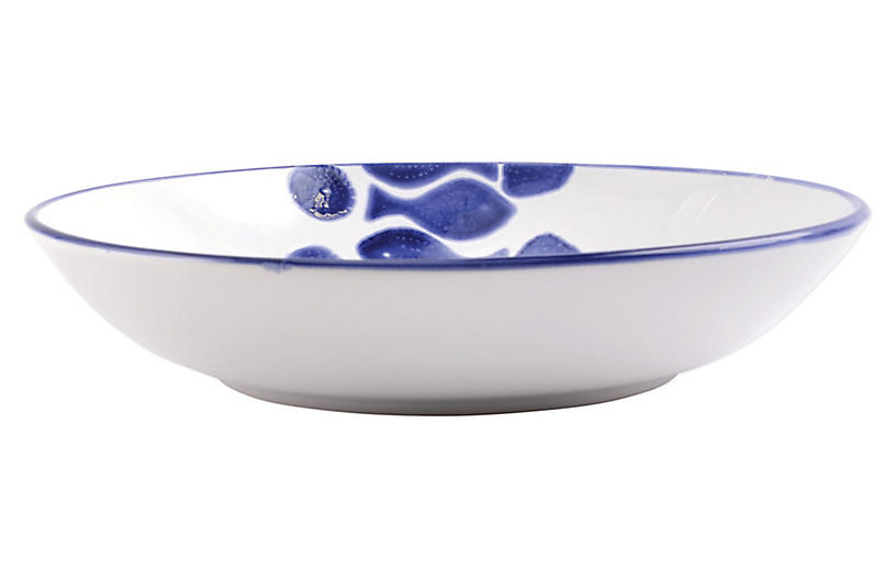 Santorini Fish Serving Bowl, White/Blue
