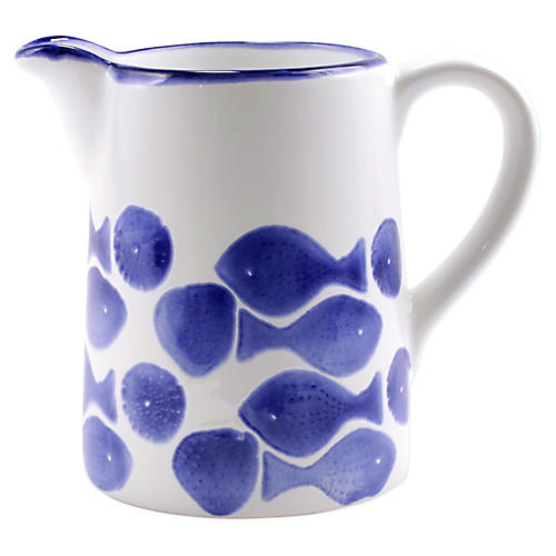 Santorini Fish Pitcher, White/Blue