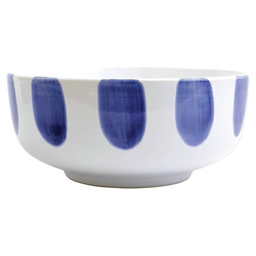 Santorini Dot Footed Serving Bowl, White/Blue
