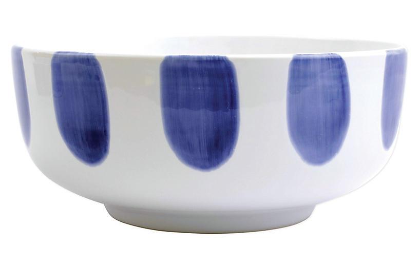 Santorini Dot Footed Serving Bowl, White/Blue