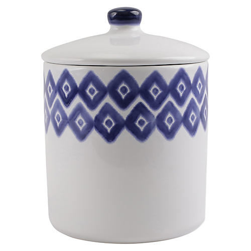 Santorini Diamond Large Canister, White/Blue