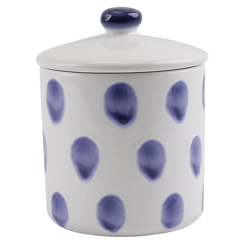 Santorini Dot Small Canister, White/Blue