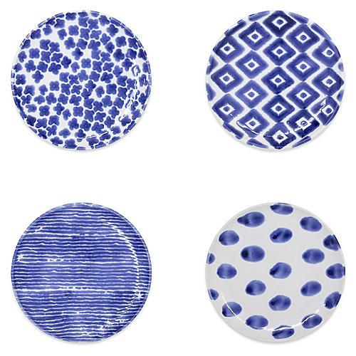 Asst. of 4 Santorini Cocktail Plates, White/Blue