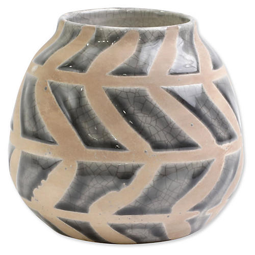 Garden Geo Round Vase, Gray