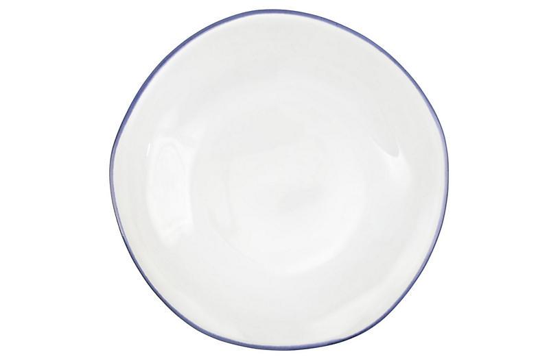 Aurora Edge Salad Plate, White/Colbalt