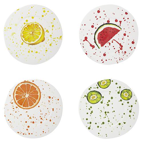 Asst. of 4 Melamine Fruit Salad Plates, White