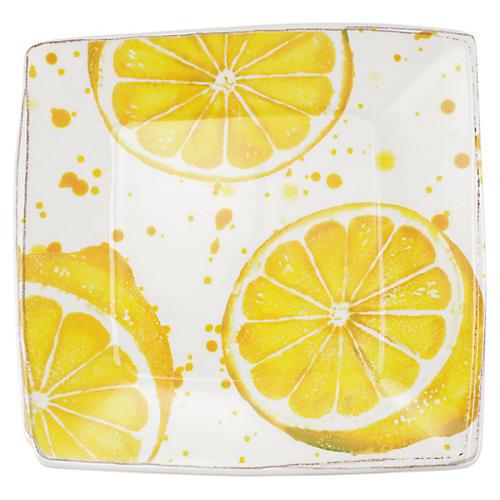 Melamine Fruit Lemon Platter, White/Yellow