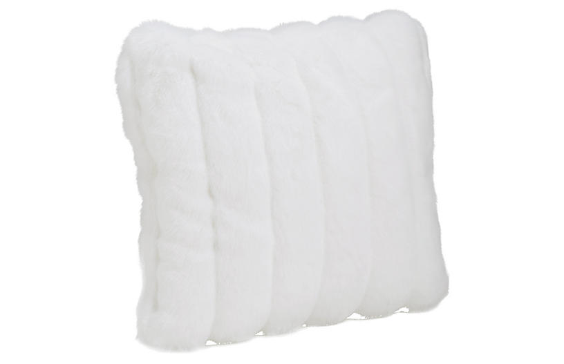 Darcy Faux Fur Pillow, White Mink