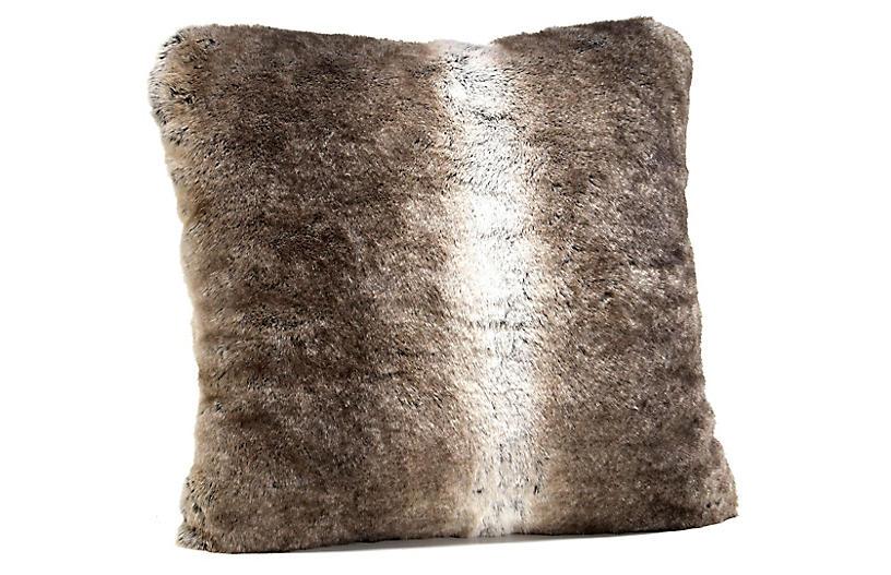Grayson Faux Fur Pillow, Gray Rabbit