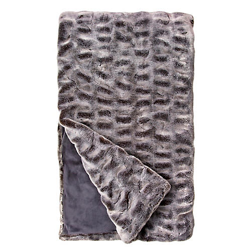Faux-Fur Throw, Glacier Gray Mink