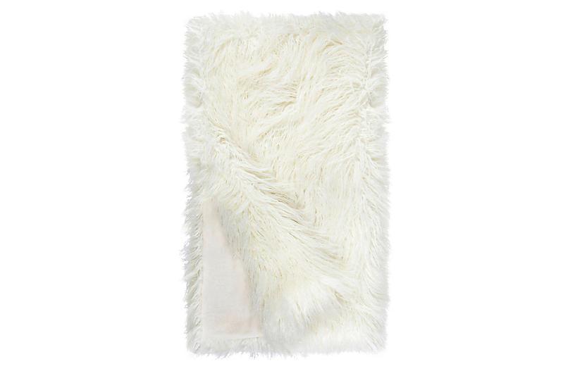 Vivian Faux Fur Throw, Ivory Tibetan Lamb