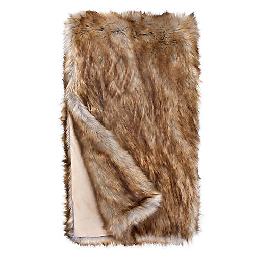Faux-Fur Throw, Tipped Fox