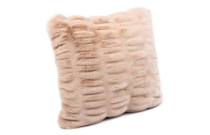 Hadley 24x24 Faux Fur Pillow, Rose