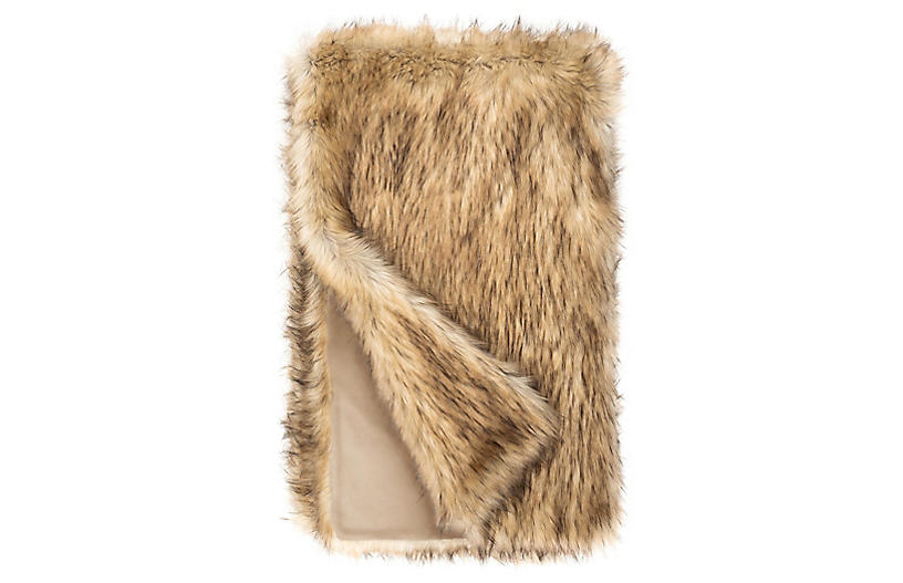 Isla Faux Fur Throw, Taupe Fox