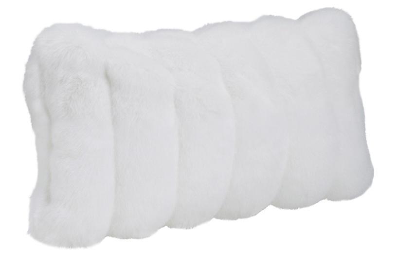 Darcy 12x22 Faux Fur Lumbar Pillow, White Mink