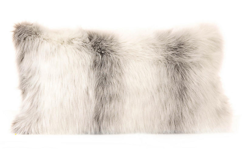 Dana 12x22 Faux Fur Lumbar Pillow, Icelandic Fox