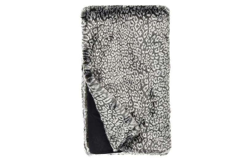 Clara Faux Fur Throw, Gray Cheetah