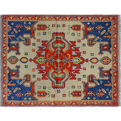 """4'11""""x6'6"""" Baluchi Stella Rug, Ivory/Red"""