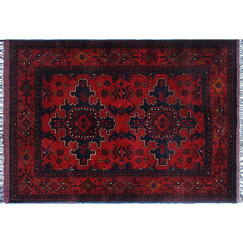 "3'3""x4'8"" Khal Mohammadi Oliver Rug, Red/Black"