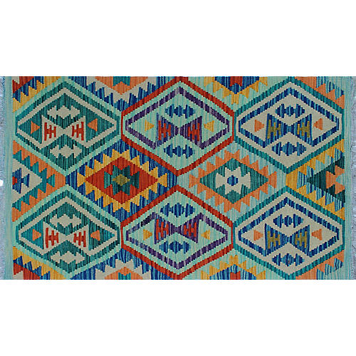 "2'7""x4'7"" Sangat Lucian Kilim, Blue/Multi"