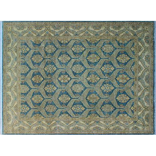 9'x12' Yousafi Chobi Mashika Rug, Blue/Ivory