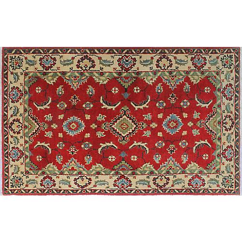 """2'7""""x4'2"""" Kazak Khojassteh Rug, Red/Ivory"""