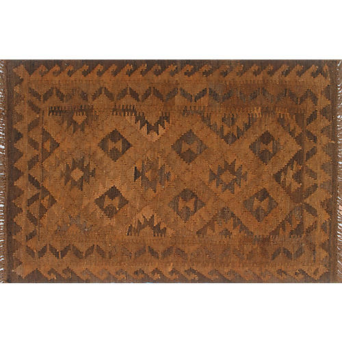 "2'8""x4'2"" Overyded Michael Kilim Rug, Rust/Brown"