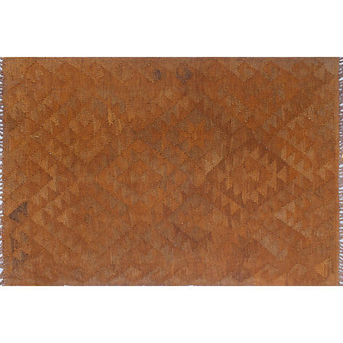 "2'9""x4' Elan Overyded Dorilyn Kilim Rug, Rust"