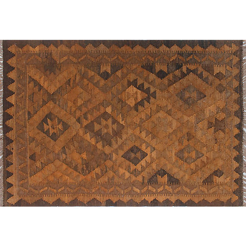 "2'9""x4' Elan Overyded Anier Kilim Rug, Rust/Brown"