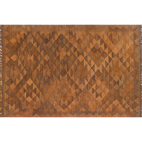 "2'9""x4'1"" Overyded Apparent Kilim Rug, Rust/Brown"