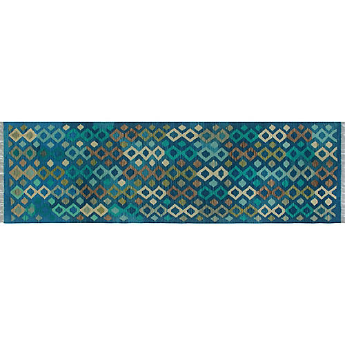 """2'10""""x9'7"""" Winchester Claire Kilim Runner, Blue"""