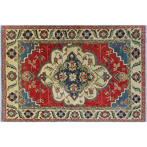 """3'1""""x4'7"""" Kazak Mona Rug, Red/Ivory"""