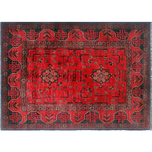 """3'5""""x4'8"""" Khal Mohammadi Mastoureh Rug, Red/Black"""