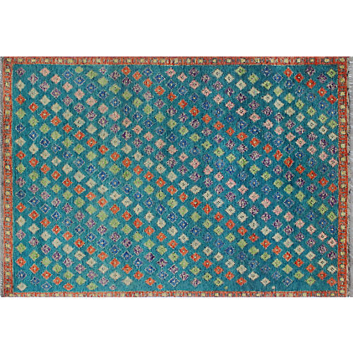 "4'x5'10"" Baluchi Hannah Rug, Teal Blue/Rust"