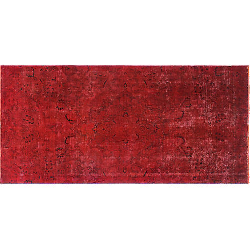 "4'5""x9'2"" Distressed Overdyed Edrei Runner, Red"