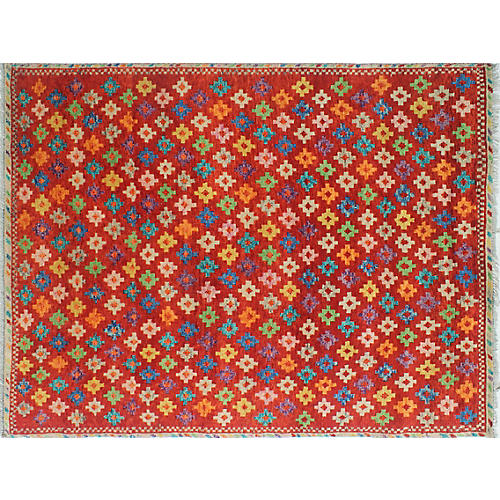 "4'8""x6'3"" Baluchi Doris Rug, Orange/Ivory"