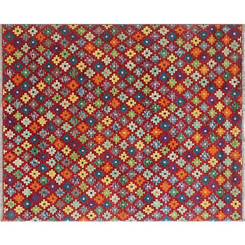 """4'11""""x6'6"""" Baluchi Diane Rug, Red/Orange"""