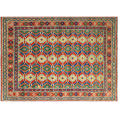 "5'3""x7'11"" Baluchi Debra Rug, Orange/Yellow"