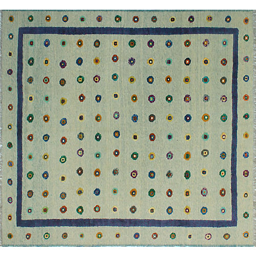 "8'11""x9'8"" Berjesta Denise Kilim Rug, Gray/Purple"
