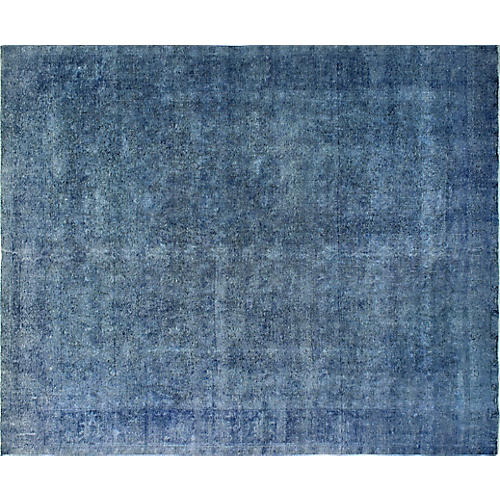 "9'11""x12'6"" Distressed Overdyed Yan Rug, Blue"