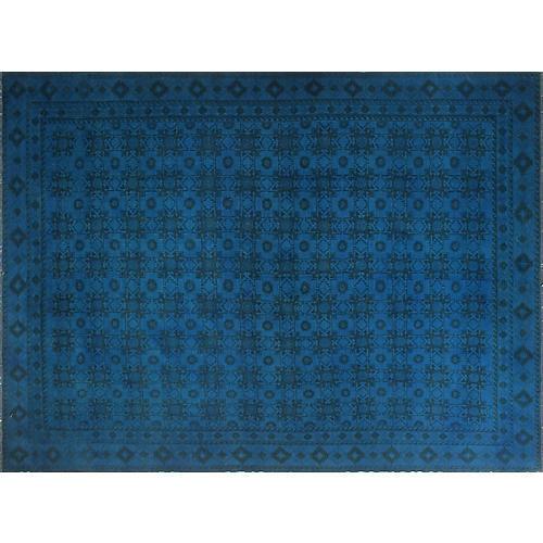 """10'6""""x14'1"""" Overyded Amaya Kilim Rug, Blue/Blue"""