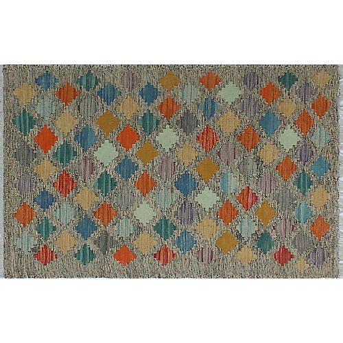 "2'7""x4' Sangat Jada Kilim Rug, Brown/Orange"
