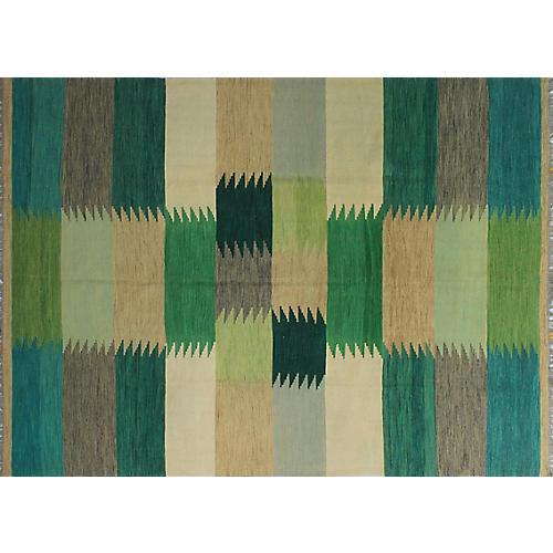 "8'4""x11'2"" Winchester Ariadnee Kilim Rug, Green"