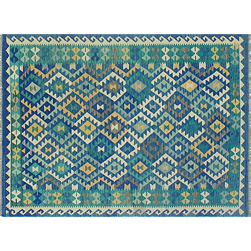 "6'x7'8"" Sangat Jimena Kilim Rug, Blue/Ivory"