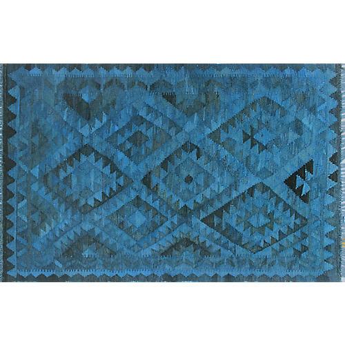 """3'x4'5"""" Elan Overdyed Alirio Kilim Rug, Blue/Black"""