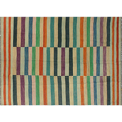 "5'9""x8' Winchester Yoseph Kilim Rug, Orange/Blue"